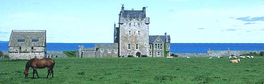 Ackergill Tower overlooking the sea