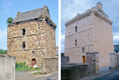 Newmilns Tower before and after restoration