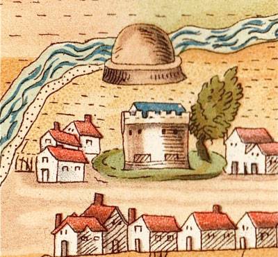 old drawing of Annan showing Tower House